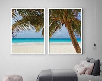 Beach print, set of 2 prints, beach decor, ocean print, beach wall art, coastal print, tropical print, large beach print, DIGITAL FILES
