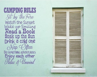 Camping Rules Drink a Cold One, Vinyl Decor, Wall, Subway art, Lettering Words, Quotes, Decals, Art, Custom Willow Creek Design Co