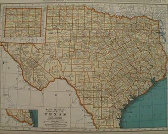 Texas Map,Dallas Houston San Antonio Galveston,USA State Maps,United States State Atlas Map Art,Place on the World Map,1940's 1942 9x12 VS11