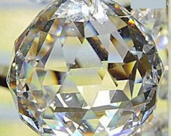 30mm Chandelier Crystal Prism Faceted Ball - Faceted 30mm Crystal Ball -Asfour FULL LEAD Crystal (S-17)