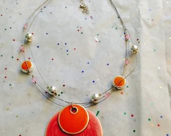 Multi strand orange necklace.  Adjustable coral necklace.  Bead necklace. Coral jewelry. Bead jewelry. Orange beads. Coral beads. TBFB0032