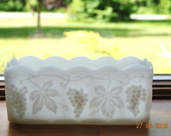 Anchor Hocking Fire King Milk Glass Rectangle Planter in The Grape Pattern