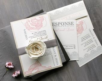 Elegant Boxed Wedding Invitations Romantic Luxury Wedding