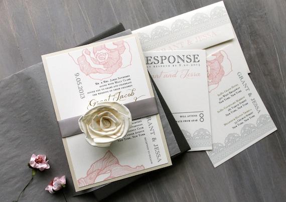 Box Wedding Invitations: Blush And Gray Elegant Boxed Wedding Invitations Lace Boxed