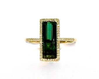 14K Green Tourmaline Baguette Diamond Solitaire Ring
