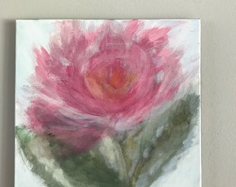 Sweet peony painting - 12 x 12 acrylic on canvas