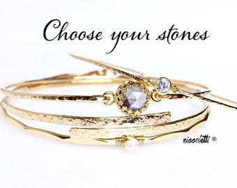 Custom Birthstone Bangles Set / Choose your Gemstones / Gift for Wife or Mom / Sterling Silver Bangles Set / 14k Rose Gold Stacking Bangles
