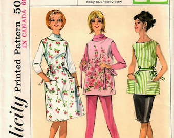 1960s Simplicity 5763 Vintage Sewing Pattern Misses Full Apron, Pinafore, Back Wrap Apron Size Medium