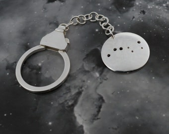 Silver Big Dipper keyring: The constellation of the Big Dipper on a sterling silver keychain