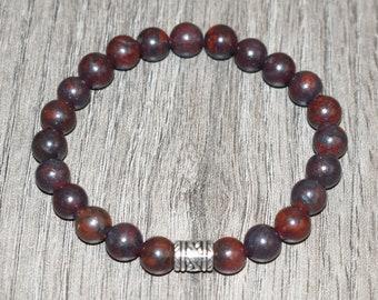 Healing Bracelet, Natural Brecciated Jasper Bracelet, Red Jasper Bracelet, 7 Chakra Bracelet, 8mm Layering Bracelet, Men Women Yoga Bracelet
