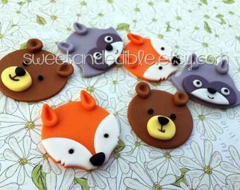 Set of 12 WOODLAND Fondant Cupcake Toppers
