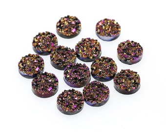 Metallic Magenta 12mm Faux Druzy Crystal Clusters Cabochons Chunky Nuggets Sfa0105