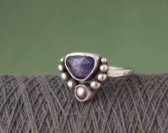 Iolite, Freshwater Pearl, Sterling Silver Ring