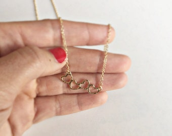 GOLD chain heart, gold plated necklace