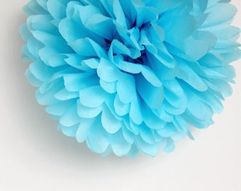 Light Blue Tissue Paper Pom Poms- Wedding, Birthday, Bridal Shower, Baby Shower, Party Decorations, Garden Party
