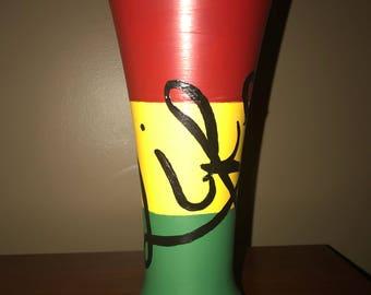 Hand painted Rastafarian life beer glass