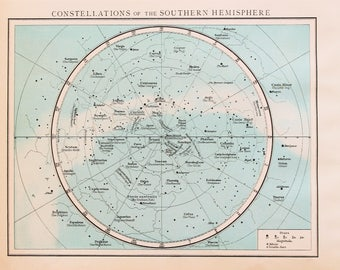 Antique Star Chart, Southern Hemisphere Constellations, 1890s Antique Astronomy Print