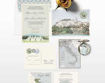Destination wedding Italy Wedding Invitation Suite South Italian Invitation Puglia Basilicata landscape Olive green wedding -Deposit Payment