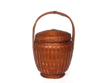 Vintage Basket with Lid - Woven Basket with Handle - Vintage Wicker Basket - Rustic Decor - Vintage Rustic Basket - Chinese Bamboo Basket