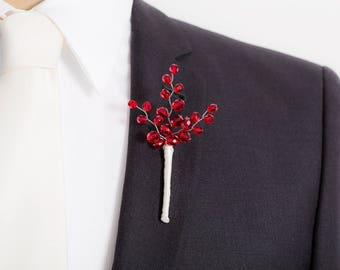 Limited Edition Red Boutonniere - Bright Red  - Mens  Boutonniere