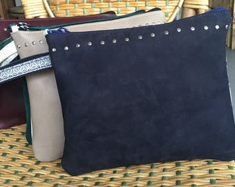 FANCY cover bimaterial leather studded blue nubuck leather effect varnish stained soft cotton strap
