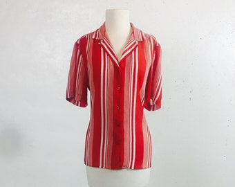 Vintage 1980s Haberdashery Red and White Stripe Blouse