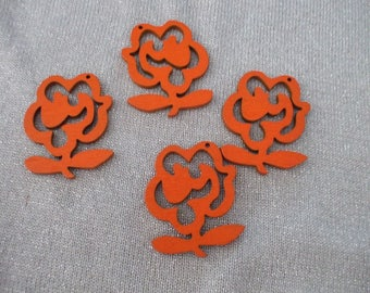 x 4 wooden 47 mm x 40 mm pendant or charm ORANGE flowers