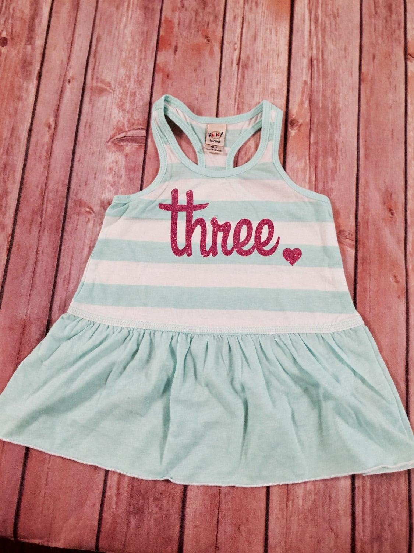 Third Birthday Dress Pink Sparkle Birthday Shirt Baby Girl 3rd