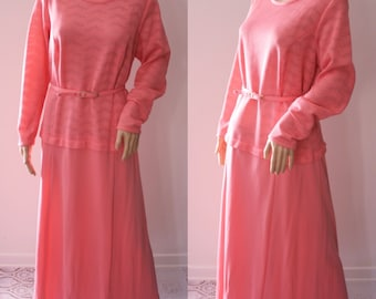 CLEARANCE - Bright Coral Pink 60's Maxi Dress