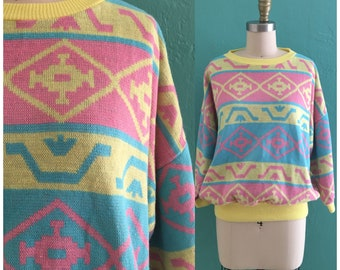 vintage 80's pastel color block sweater