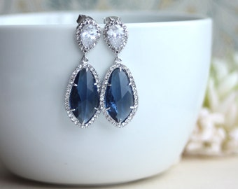 LUX Rhodium Plated Cubic Zirconia Navy Blue Sapphire Blue Dark Blue Teardrop Earrings 925 Ear Post. Bridal Jewelry. Something Blue Wedding
