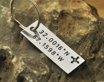 Latitude and Longitude Keychain - Custom Coordinates - Hand Stamped Keyring alloy key chain Christmas Gift