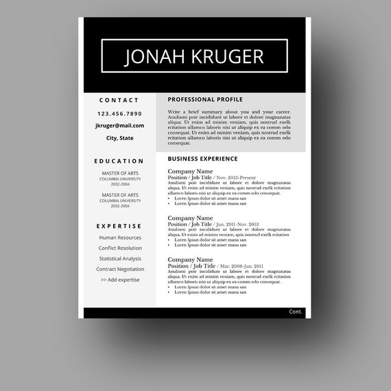 Modern Masculine Resume Template Two Page Cover Letter