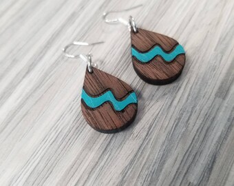 Premium Walnut Wood Tear Drop Earrings,Turquoise and Silver Dangle Earrings,Hand Painted Wood Earrings,Hypoallergenic Earrings,Teal Earrings