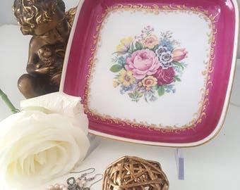 Vintage serving tray platter bowl LANGENTAL SUISSE floral design square shape
