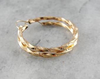 Twisting Etched Hoop Earrings, Vintage Gold Hoops, Gold Hoop Earrings, Rose Gold Hoop Earrings AWJQ8Y-D