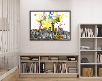 Seattle Art Print From Original Watercolor Painting Seattle Skyline Art Print Seattle Painting Wall Art