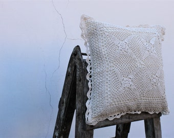 Crochet Pillow covers lace corners 16''x16'', Cushions, Boho style, gift for Mom, Easter gift