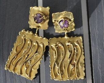 Vintage Brass and Raw Amethyst Brutalist Contemporary Clip On Abstract Artisan Dangle Earrings Signed by Ernandes