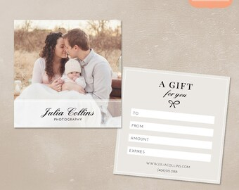 Photography Gift Certificate Template for Photographers PSD Flat card MG003