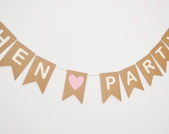 Hen Party Banner, Bride To Be, Party Decorations, Rustic Bride Bunting, Bridesmaids