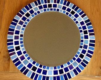 SALE Round Mosaic Wall Mirror - Blue - 30cm - Bathroom Mirror