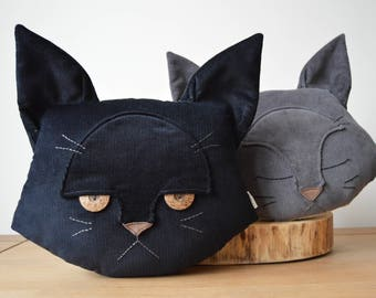 Cat Cushion, Fathers Day Gift, Cat Pillow, Black Cat, Cat Interiors, Gift for Her, Gift for Him, Plush Cat, Animal Lover, Dissatisfied Cat