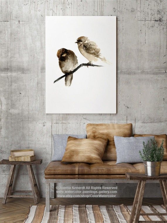 Birds Watercolor Painting Brown Sparrow Natural Home Decor