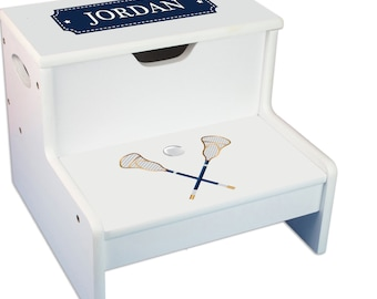 Personalized Lacrosse Sticks Childrens Step And Storage Stool