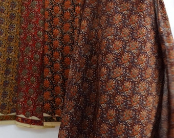 fabric, block print, traditional floral with border, color brown design collection