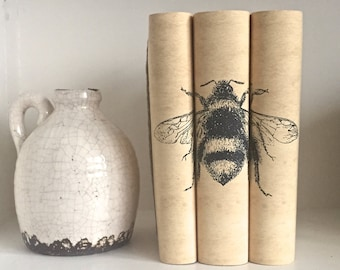 Bee Decorative Books with Custom Book Covers - Decorative Books - Interior Design Books - Custom book jackets - Custom Books - Bookcase