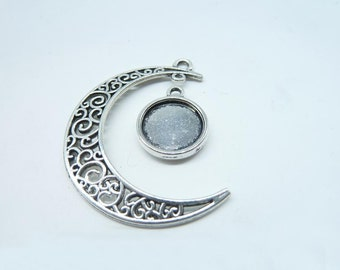 10 conjuntos de luna y bandeja encantos, luna de plata antiguos, galaxia, joyas del universo cósmico 12mm Base ajuste 7182 3096