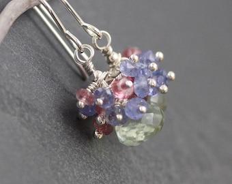 Multi Gemstone & Sterling Silver Cluster Earrings. Prasiolite, Tanzanite and Pink Tourmaline Beaded Dangle Earrings. Womans Jewelry Gift