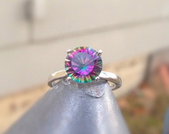 Rainbow Quartz Ring, Solitaire 4-prong with Rainbow Quartz in Sterling Silver, Engagement Ring, Valentine's Day Gift, Abish Jewelry Works
